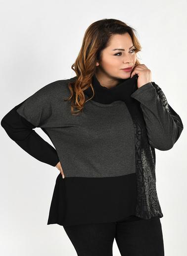 WHIP Design Yazı Desenli Degaje Yaka Uzun Kol Viskon Bluz Siyah